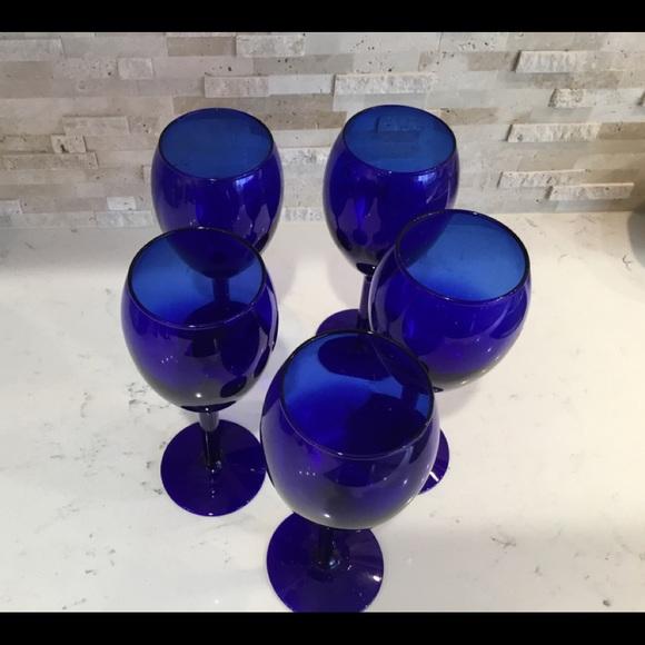 5 Vintage Cobalt Blue Stem Glasses